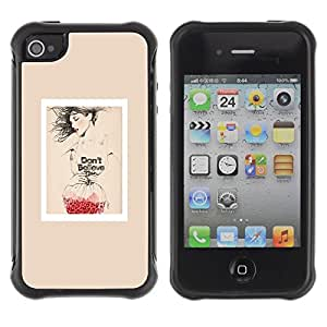 Suave TPU GEL Carcasa Funda Silicona Blando Estuche Caso de protección (para) Apple Iphone 4 / 4S / CECELL Phone case / / Poster Fashion Red Love Art Beige /