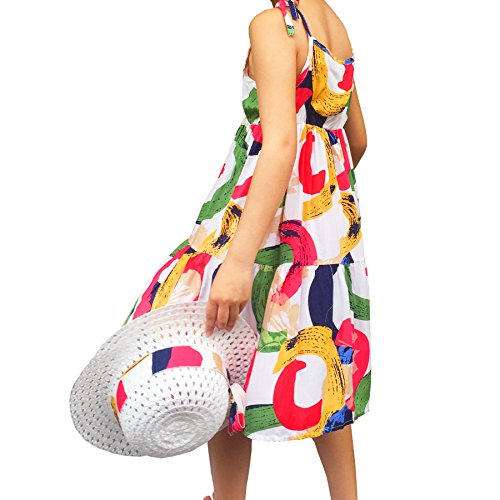 Summer Cotton Dress Cute Colourful Vintage Floral Print Beach Boho Summer Dresses with Sun Hat Sets for Toddler Girls (120(fit heigth47-49), Multicoloured3)