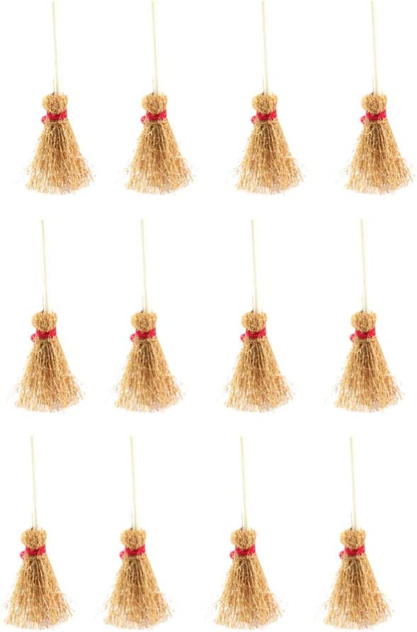 HEALLILY Mini Broom Straw Craft Decoration Artificial Brooms with Red Rope Witches Accessory for Halloween Party 12Pcs 9.54x4 x2cm