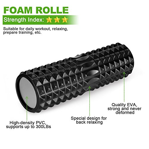 Koruson 5 Piece Complete Foam Roller Set: Includes 1 High Density Foam Roller, 1 Muscle Massager Stick, 1 Spiky Exercise Ball, 1 Smooth Exercise Ball and 1 Carrying Bag by Koruson (Image #3)