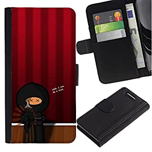 KingStore / Leather Etui en cuir / Sony Xperia Z1 Compact D5503 / Artista Teatro Ninja