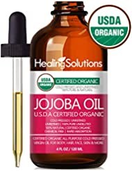 Jojoba Oil (Organic - 4oz) 100% Pure & Natural - Cold Pressed Unrefined - Hexane & Chemical Free - Natural Carrier Oil & Cuticle Oil Solution for Face & Hair, Helps Fight Acne & Moisturize Skin Now