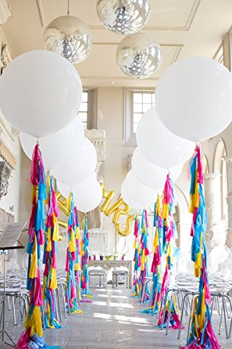 Originals Group 20 Rainbow Tassels Tail Garland with 90cm / 3ft Jumbo Balloon Giant Balloon for Party Wedding Gold Garland Bunting Pom Pom -