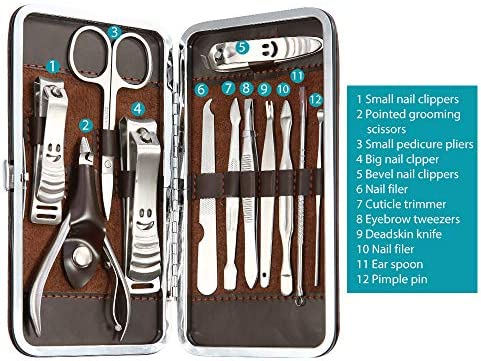 Abody - Lote de cortauñas y tijeras para manicura y pedicura (12 piezas) con estuche de piel marrón: Amazon.es: Belleza
