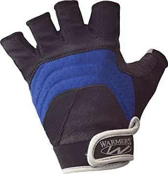 Warmers Barnacle Half Finger Paddling Glove (Black/Blue, Medium)
