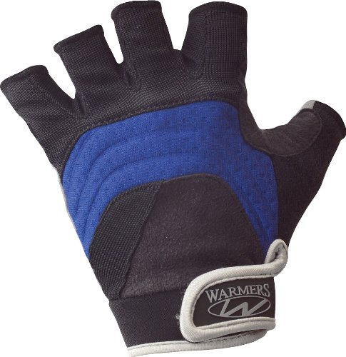 Warmers (D3245) Barnacle Half Finger Paddling Glove (Black/Blue, Medium)