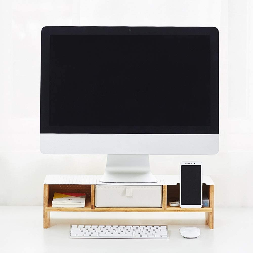 Guodasitansen Laptop Stand for Desk Riser Monitor Stand Monitor Riser-Bamboo Display Screen Heightening Bracket//Desk Organizers and Accessories//for Computer iMac Printer Laptop Color : Gray