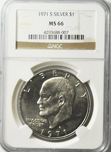 1971 S Eisenhower Silver Dollar $1 NGC MS66