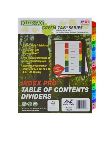 Kleer-Fax Index Pro - Table of Contents Dividers, 26 Tab - A to Z, 11 x 9 x 1/4 Inches, One Set, Assorted Colors, 71926 - Kleer Fax Index