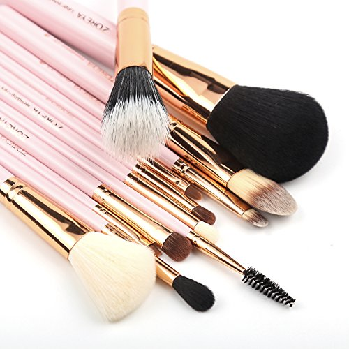 Zoreya Makeup Brush Set 12pcs Pink Makeup Brushs Travel Set Professional Foundation Powder Contour Blush Eye Cosmetic Brush Sets With Holder