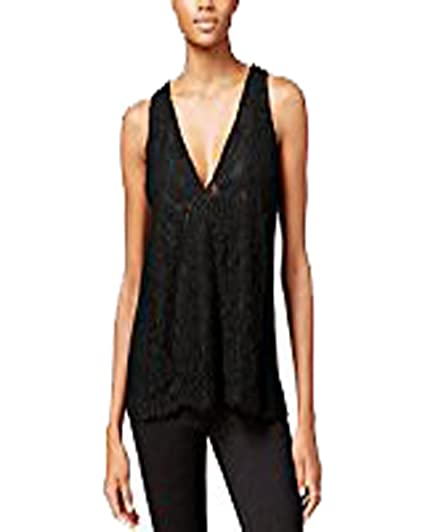 ea4672a600ece4 Image Unavailable. Image not available for. Color  RACHEL Rachel Roy Womens  Lace Overlay Double V Tank Top Black M