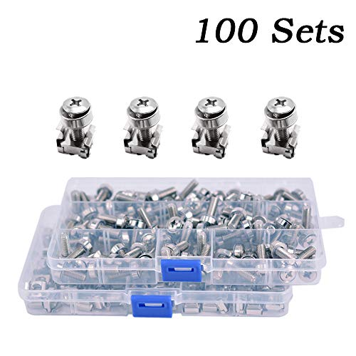 Wang-Data 100 Sets M6 Square Hole Hardware Cage Nuts & Mounting Screws Washers for Server Rack and Cabinet (M6 X 20mm)(screw+washer+cage ()