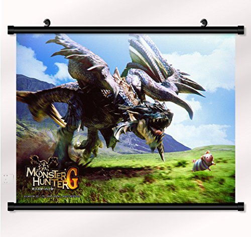Monster Hunter poster with wall scroll 22 inch x 16 - Cloth Wall Hunter Poster Scroll