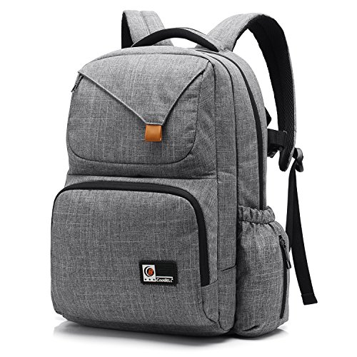 CoolBELL Baby Diaper Bag Backpack Large-Size Baby Bag With Insulated Pockets / Water-resistant Travel Knapsack / Unisex Design Nappy Bag Include Changing Pad For Mom / Dad / Boys /Girls (Grey)