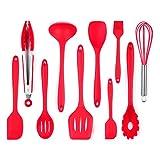 iLOME キッチンツール シリコン製 調理 料理 製菓器具 セット レッド (10点セット)