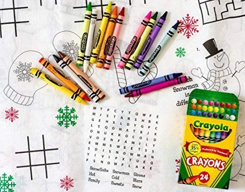 Kids Coloring and Activity Christmas Tablecover/Tablecloth Bundle - 2 Items: 1 Tablecover and 1 Box of 24 Crayola -