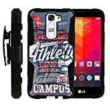 MINITURTLE Case Compatible w/ LG K7 Case | Tribute 5 Cover, LG Treasure Case | [Clip Armor] Impact Hard Rubber Durable Unique Creative Cover + Belt Clip Blue College Sports