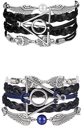 vintage-handmade-owls-for-harry-potter-deathly-hollows-wings-black-leather-bracelet