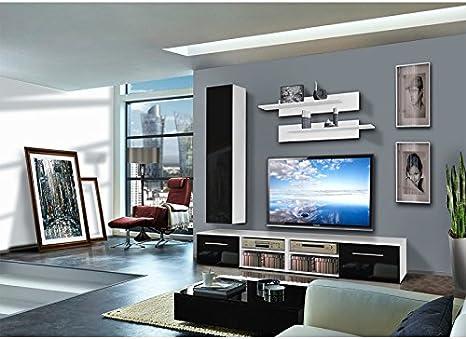 Paris Prix Mueble TV pared invento IV 240 cm negro & blanco: Amazon.es: Hogar