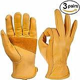OZERO Leather Work Gloves for Gardening, Men & Women, with Elastic Wrist, Medium (3 Pairs)