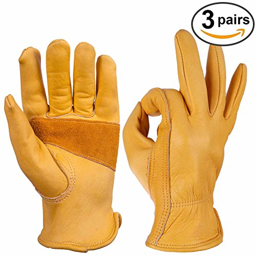 Cowhide Gloves, OZERO Work Glove Grain Leather for Motorcycle, Driving, Yard, Gardening - Perfect Fit - Durable and Good Grip - Elastic Wrist - 3 pairs Pack (Studded Dark Wash)
