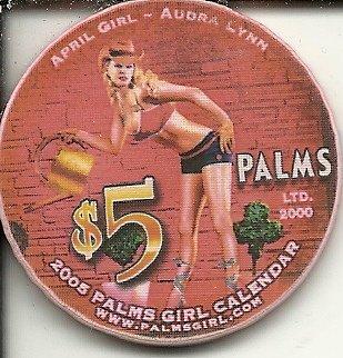 $5 palms 2005 palms girl audra lynn las vegas nevada casino chip (Palms Chip)