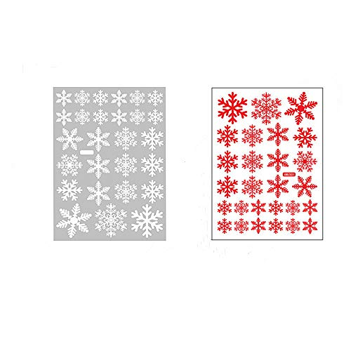 108 Pieces Christmas Snowflake Window Clings,2 Color Static Decals, Removable PVC Stickers for Christmas Windows Mirror Glasses Decoration ,set of 4 sheet