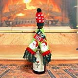 Gillberry 1Set Hat Scarf Wine Hold Bottle Cover Decoration Home Party Christmas Wine Bag (C)