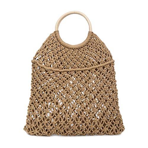 Women's Woven Mesh Bucket Bag Linen Weave Drawstring Bag Round Wooden Handle Shopper Bag Simple Casual Beach Bag Ladies Woven Handbags (Khaki)
