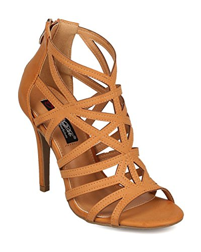 DbDk Women Leatherette Peep Toe Caged Stiletto Sandal EH87 - Camel (Size: 8.0)