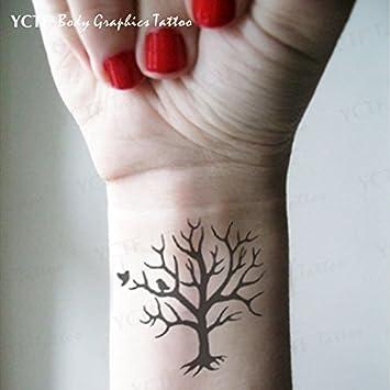 Oottati 4 Blätter Baum Handgelenk Vogel Temporäre Tätowierung Tf01