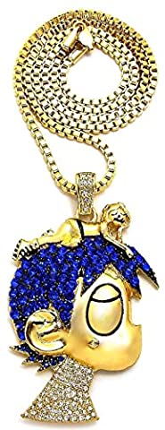 GWOOD L Uzi Cartoon Iced Out Pendant Necklace Gold Color With Box Chain (Chief Keef Pendant)