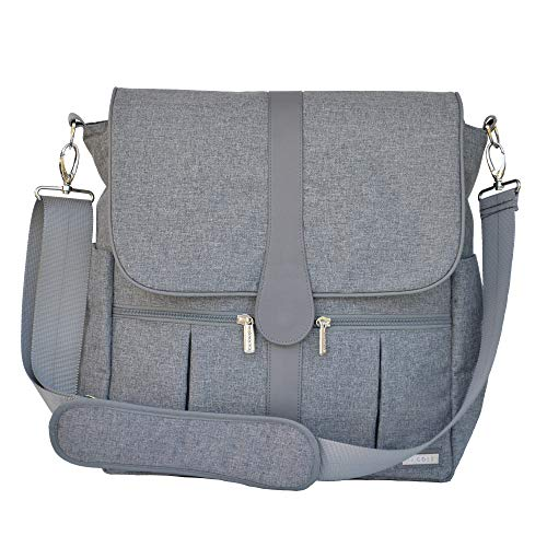 JJ Cole Backpack Diaper Bag with No Slip Grips and Multiple Pockets, Gray Heather