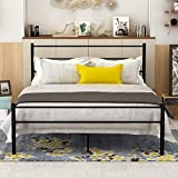 Metal Queen Bed Frame with Headboard and Footboard Mattress Foundation Steel Slat Support Black
