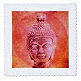 3dRose Andrea Haase Art Illustration - Pink Orange Buddha Head Illustration - 12x12 inch quilt square (qs_268361_4)