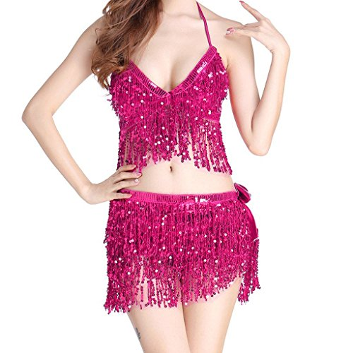 MUNAFIE Electric Music Festival Clothing for Women Carnival Halloween and Cosplay Cheerleader Costume for Women Rose Pink,One Size ()