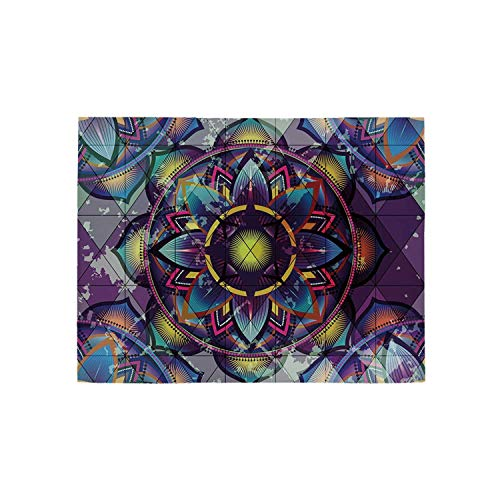 - Lotus Utility Area Rug,Psychedelic Surreal Sacred Geometry Mandala Background with Futuristic Effects Print for Home,60