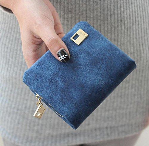 Geldbörsen, Rcool Frauen PU Leder Geldbörse Mini Clutch Handtasche (Blau) Blau