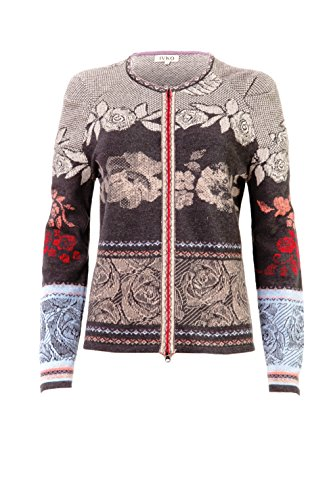 IVKO Short Lambswool Sweater with Zip Closure, Rose Designs (US 12 - EUR 42) by IVKO
