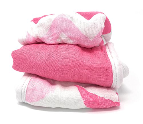 Bamboo Muslin Washcloths - 3 Pack - Pink Feather Chevron - Softest Muslin Washcloths by Cozy Babe
