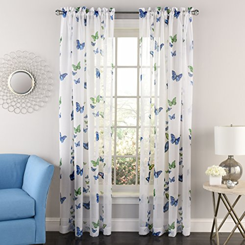 (Lorraine Home Fashions 06042-63-00003 BLUE Butterflies Tailored Window Curtain Panel, Blue, 54