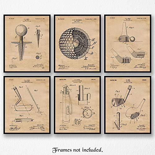 Original Golf Patent Art Poster Prints- Set of 6 (Six 8x10) Unframed Photos- Great Wall Art Decor Gifts Under $20 for Home, Office, Garage, Man Cave, Student, Teacher, Coach, Caddie, PGA Fan