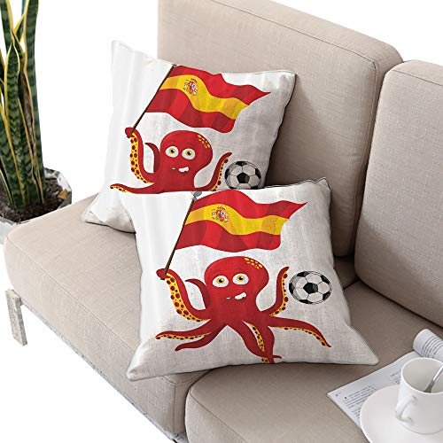 Michaeal Funny Octopus Square futon Cushion Cover,Soccer Player Spain Flag European Football Barcelona Madrid Valencia Sports Lover Clip Accent for Male Red Yellow White W18 xL18 - Madrid Futon Cover