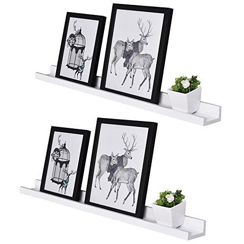 WELLAND Vista Photo Ledge Picture Display Wall Shelf Gallery, 48 Inch x 3 1/2 Inch x 2 Inch, Set of 2, White