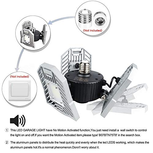 JMTGNSEP-Garage-Light-6000-Lumens-Ceiling-Light-Durable-Work-Light-E26-Indoor-Light-Deform-able-Mine-Lamp-for-GarageAtticBasementHomeFactoryMine