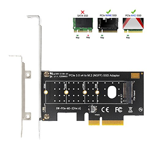 - QNINE NVME PCIe Adapter, M.2 NVME SSD to PCI Express 3.0 Host Controller Expansion Card with Low Profile Bracket, PCIe NVME Adapter for PC Desktop, Support 2230 2242 2260 2280