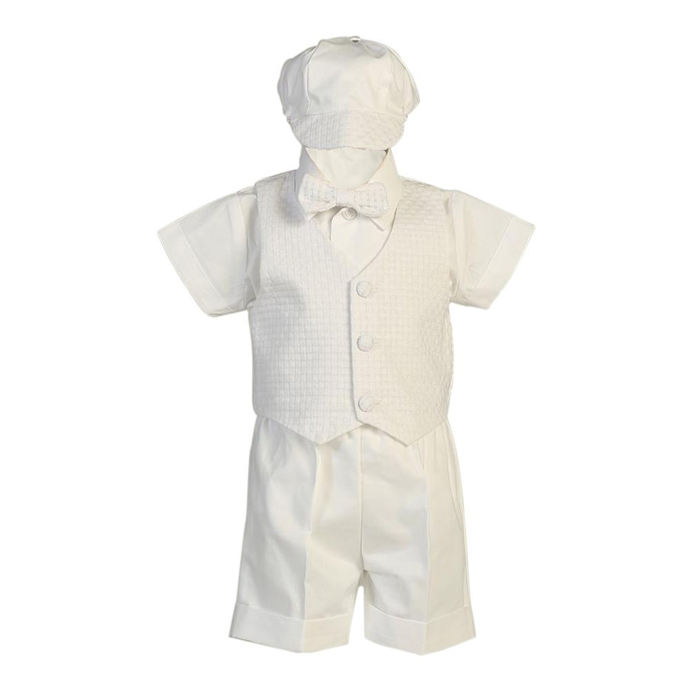 Lito Baby Boys Vest Hat Poly Cotton Short Baptism Christening Set 0-24M