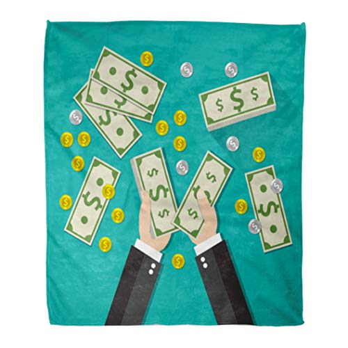 Economy Chair Stack - Semtomn Flannel Throw Blanket Income Businessman Counting Cash Money Stacks of Dollars Soft for Bed Sofa and Couch 60x80 Inches