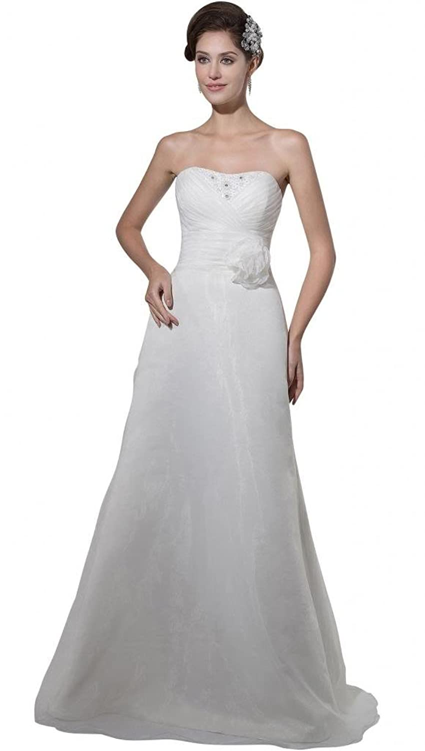 GEORGE BRIDE Simple Strapless Beading Slim Fit Wedding Dress with Handmade Flower