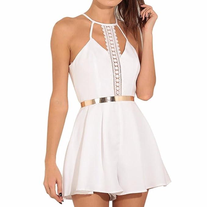 Vestido Mono con tira de encaje by Ba Zha Hei, Vestido de mujer Hueco blanco | Mujer Verano Elegante blanco camisetas | Vestidos para Fiesta Coctel blusa ...